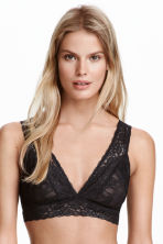 Non-wired lace bra - Black - Ladies | H&M CN 2