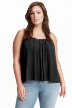H&M+ Pleated strappy top - Black - Ladies | H&M CN 1