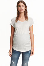 MAMA V-neck jersey top - Light grey marl - Ladies | H&M CN 1
