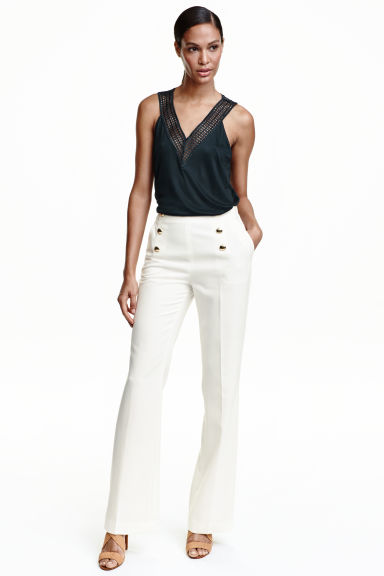 Flared trousers - White -  | H&M CN 1