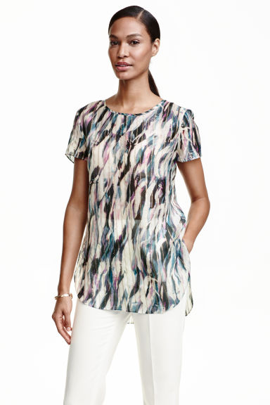 Blouse in a silk blend - Natural white/Patterned - Ladies | H&M CN