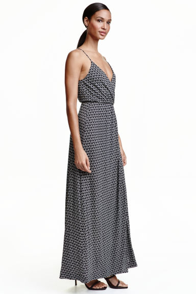 Patterned maxi dress - Dark blue - Ladies | H&M CN 1