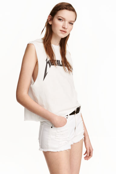 Printed vest top - White/Metallica - Ladies | H&M CN 1