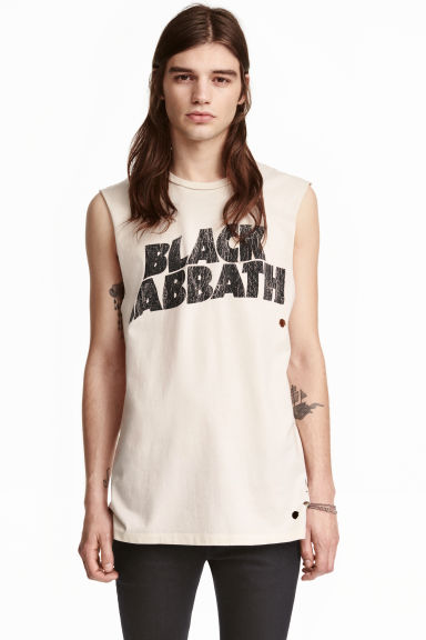 Printed vest top - White/Black Sabbath - Men | H&M CN 1