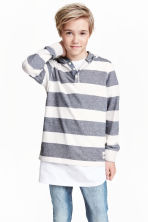 Jersey hooded top - Dark blue/Striped - Kids | H&M CN 1