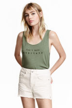 Jersey vest top - Khaki green - Ladies | H&M CN 1