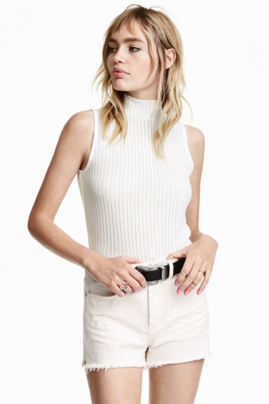 Turtleneck top - Natural white - Ladies | H&M CN 1