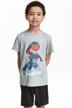 Short-sleeved sports top - Grey marl - Kids | H&M CN 1