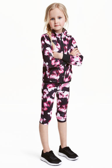 3/4-length sports tights - Black/Floral - Kids | H&M CN 1