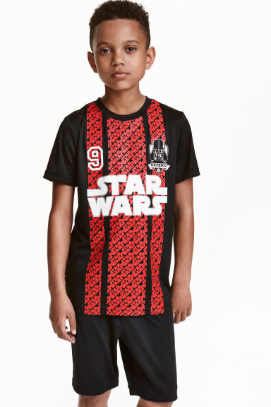 Short-sleeved sports top - Black/Star Wars - Kids | H&M CN 1