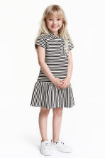 Jersey dress with a hood - Black/Striped - Kids | H&M CN 1