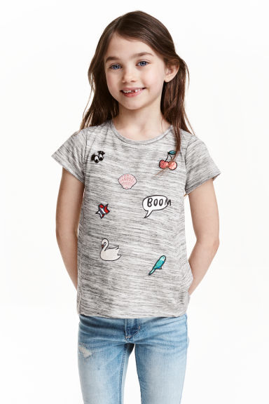 Top with appliqués - Grey marl - Kids | H&M CN 1