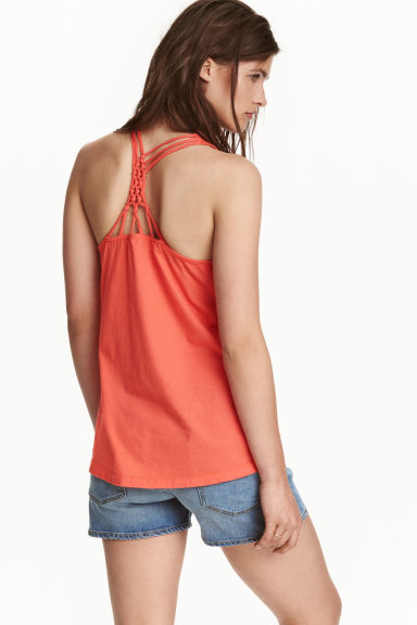 Jersey top with knot details - Coral red - Ladies | H&M CN 1