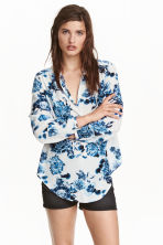 Blouse with a tie - White/Floral - Ladies | H&M CN 1