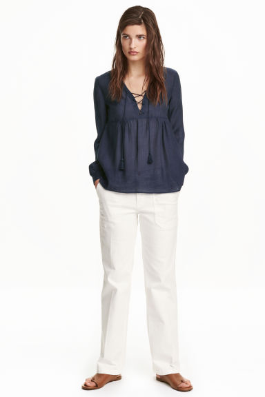 Twill trousers - White - Ladies | H&M CN 1