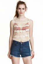 Lace-knit top - Natural white - Ladies | H&M CN 1