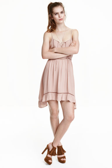Dress with embroidery - Old rose - Ladies | H&M GB 1
