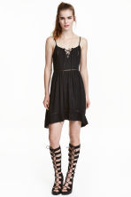 Dress with embroidery - Black - Ladies | H&M CN 1