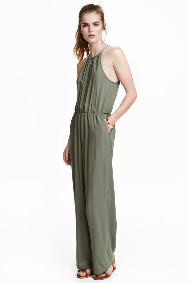 Jumpsuit with wide legs - Khaki green - Ladies | H&M CN 1