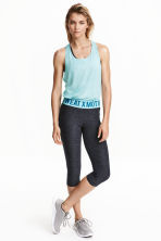 3/4-length sports tights - Dark grey marl/Turquoise - Ladies | H&M CN 1