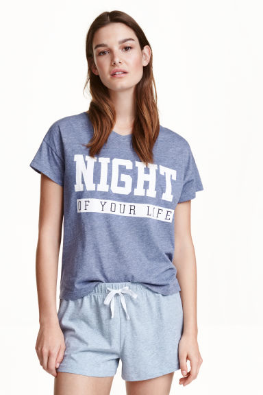 Pyjamas with top and shorts - Blue marl - Ladies | H&M CN 1