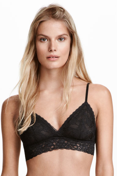 2-pack non-wired lace bras - Black/White - Ladies | H&M GB 1