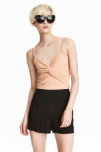 Short modal top - Powder beige - Ladies | H&M CN 1