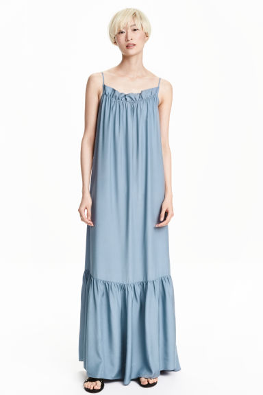 Long flounced dress - Dusky blue - Ladies | H&M CN 1