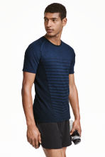 Seamless running top - Dark blue marl - Men | H&M CN 1