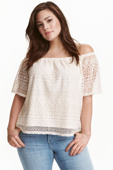 H&M+ Lace off-the-shoulder top - White - Ladies | H&M CN
