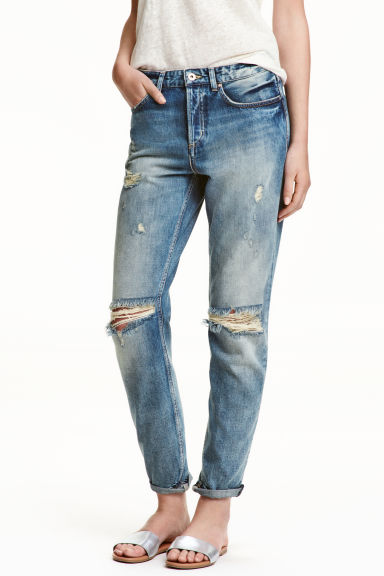 Boyfriend Low Ripped Jeans - Син деним trashed - ЖЕНИ | H&M BG