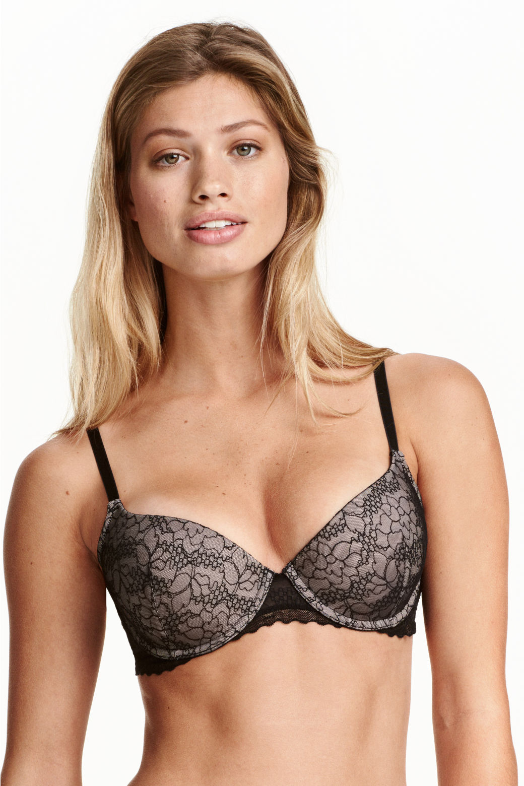 Padded underwired lace bra