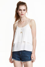 Flounced strappy top - White - Ladies | H&M CN 1