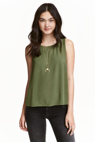 Crinkled top - Khaki green - Ladies | H&M CN 1