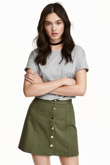 A-line skirt - Khaki green - Ladies | H&M GB 1