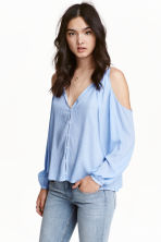 Cold shoulder blouse - Light blue/Stripe - Ladies | H&M CN 1