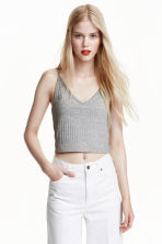 Jersey crop top - Grey marl - Ladies | H&M CN 2