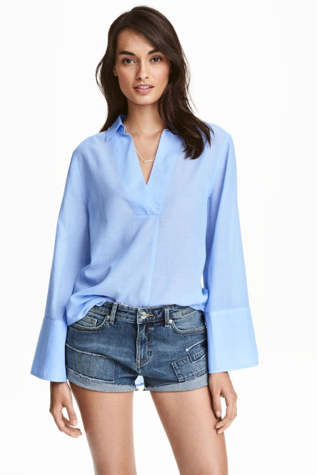 Wide-sleeved cotton blouse