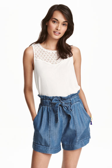 Vest top with lace - White - Ladies | H&M CN
