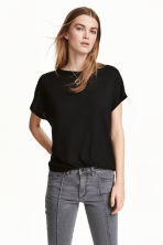 Top with cap sleeves - Black - Ladies | H&M CN 1