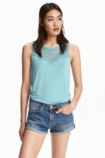 Vest top with lace - Light turquoise - Ladies | H&M CN 1