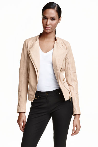 Imitation suede jacket - Light beige - Ladies | H&M CN 1
