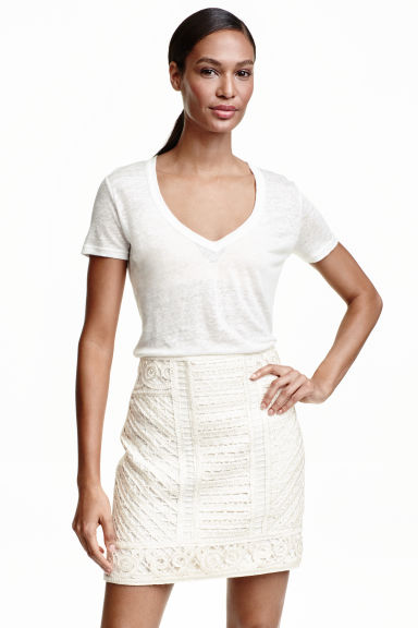 Tape-embroidered skirt - Natural white - Ladies | H&M CN 1