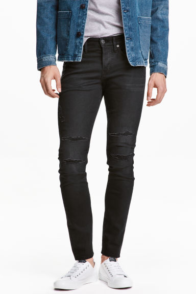 Skinny Low Trashed Jeans - 牛仔黑 - 男士 | H&M CN 1