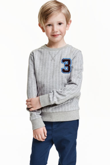 Sweatshirt with a motif - Grey/Striped - Kids | H&M CN 1