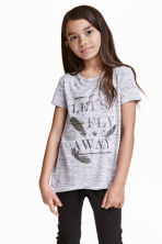 Printed jersey top - Grey marl - Kids | H&M CN 1