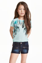 Printed jersey top - Mint green/Feathers - Kids | H&M CN 1