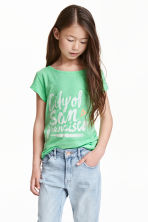 Printed jersey top - Neon green -  | H&M CN 1