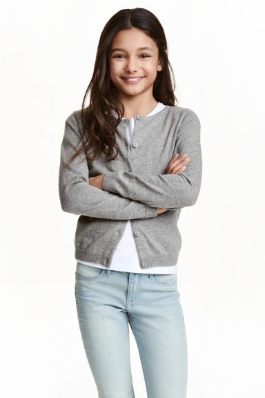 Fine-knit cardigan - Grey - Kids | H&M CN