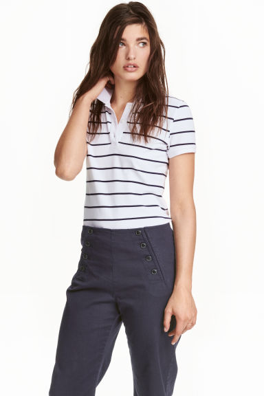 Polo shirt - White/Striped - Ladies | H&M CN 1